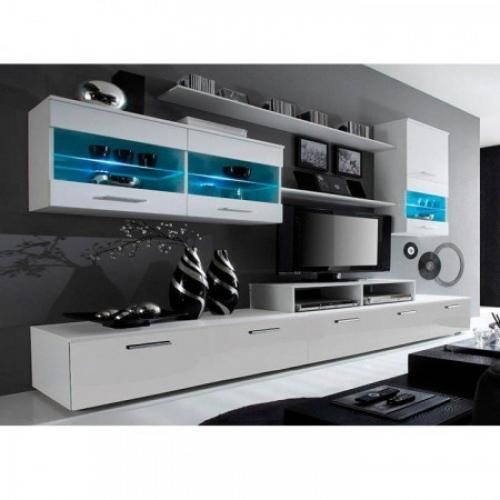 Obývací stěna, bílá / bílá extra vysoký lesk HG, LEO