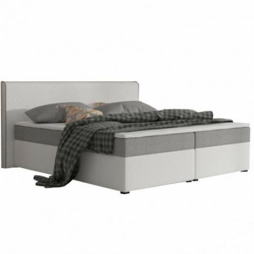 Komfortní postel, šedá látka / bílá ekokůže, 160x200, NOVARA MEGAKOMFORT VISCO