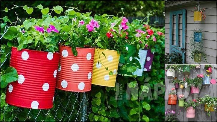 Barevná zahrada: obyčejné plechovky