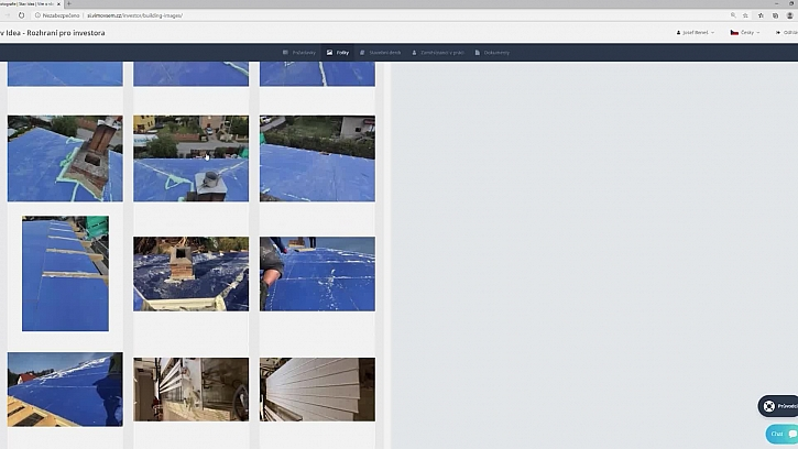 Online stavební deník a přečuhující pir desky