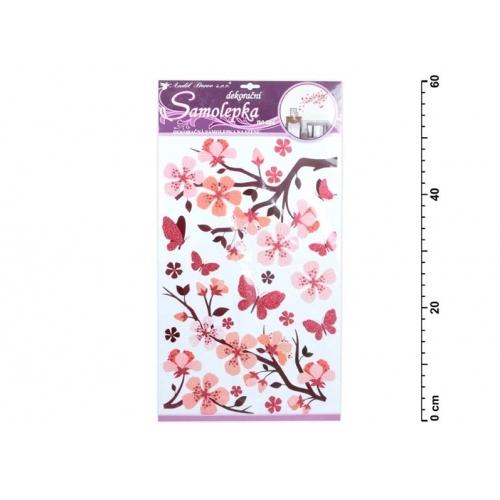 Anděl samolepící dekorace 10165 s glitrem, 50x32 cm, růžová větev