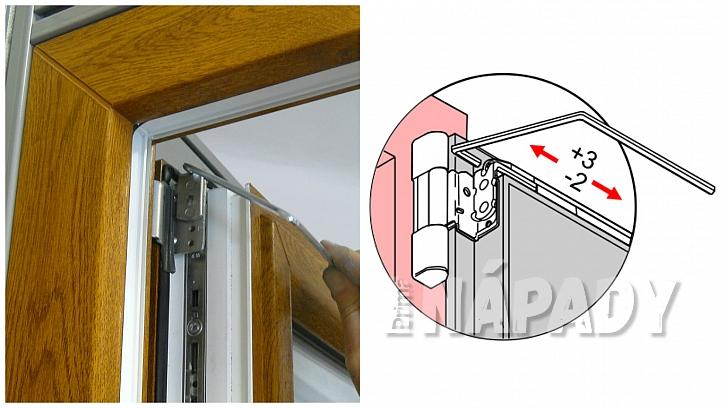 Seřízení svěšeného okna pomocí horního pantu při otevřeném okně