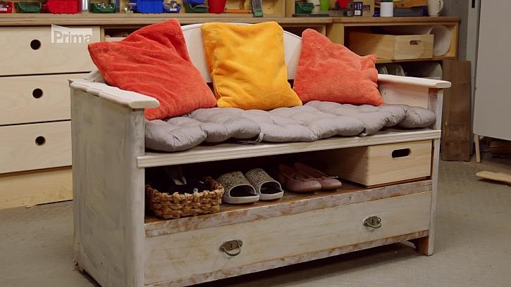 Návod na výrobu lavice ze skříně(Zdroj: Receptář prima nápadů 5. epizoda, sezóna 2021)
