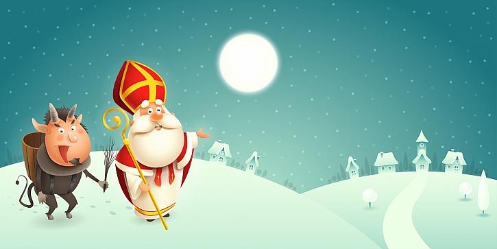 Mikuláš a čert obcházejí 5. prosince lidská obydlí a obdarovávají hodné děti (Zdroj: Depositphotos)