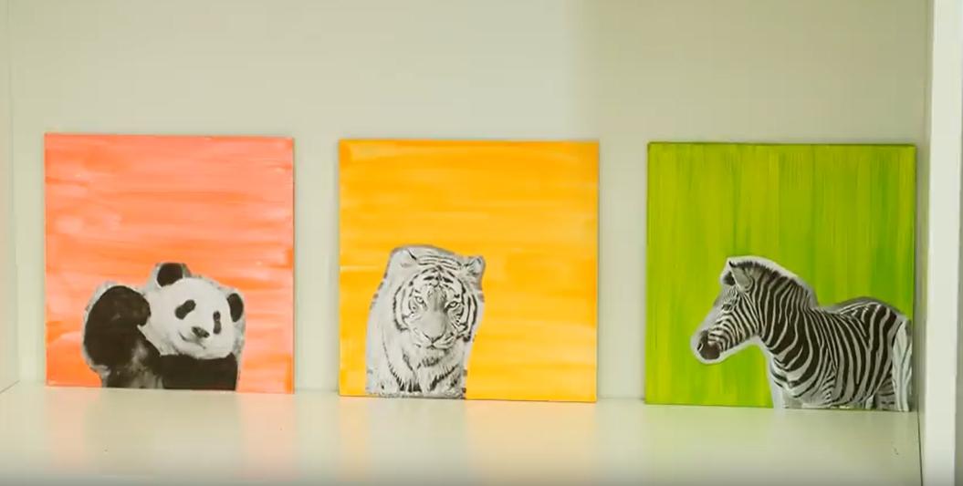 Barevné obrázky se zvířátky: Dekorace na stěnu dětského pokoje