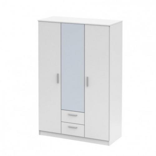 Třídveřová skříň se zrcadlem, bílá, NOKO-SINGA 82, Tempo Kondela