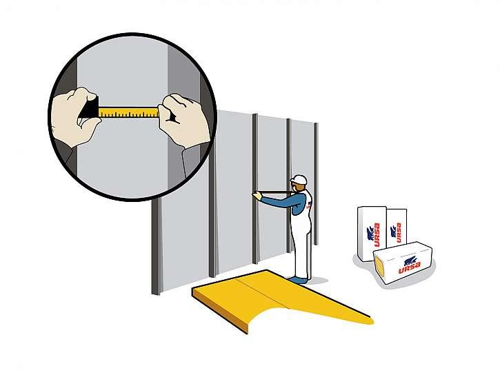 Naměření rozteče konstrukce pro vkládání minerální izolace URSA