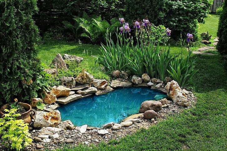 I vysloveně malé jezírko oživí zahradu v harmonii s rostlinami a dekorací