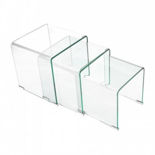 Sada 3 stolků sklo, IDEA nábytek