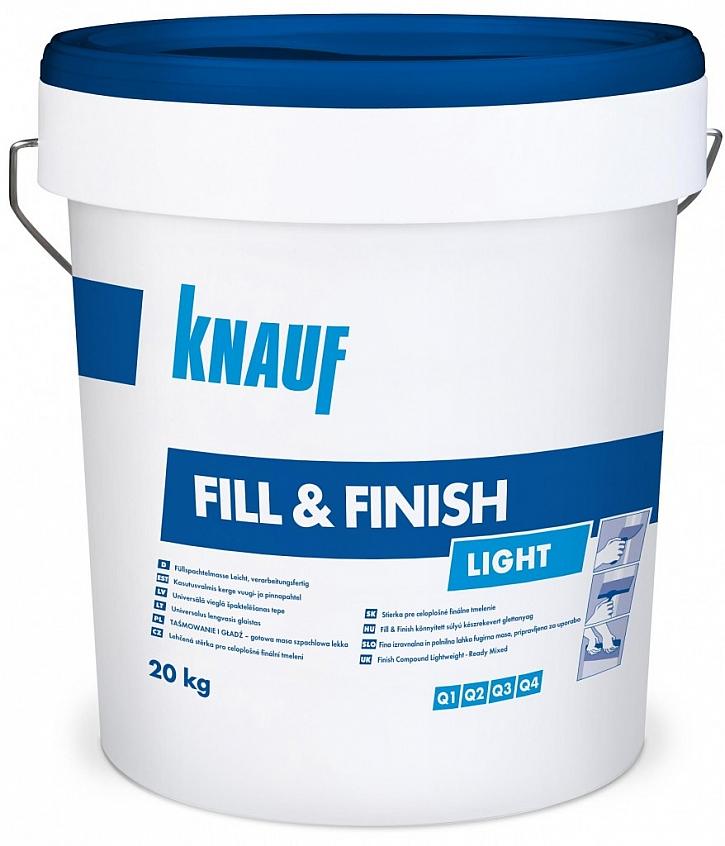 Pastózní tmel Knauf FILL&FINISH s velmi vysokou vydatností a lehkostí zpracování snižuje spotřebu o 30 %. Po aplikaci je snadno brousitelný do tří dnů. Je ideální pro vytvoření kvality Q1 s papírovou páskou a finalizace v kvalitě Q2-Q4.