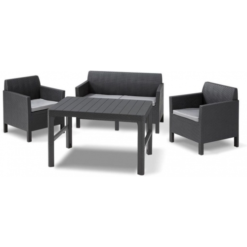 ALLIBERT ORLANDO + LYON TABLE Set zahradní, grafit/šedá 17204944