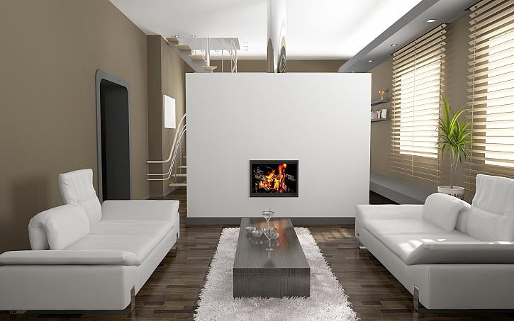 Minimalisticky zařízený obývací pokoj