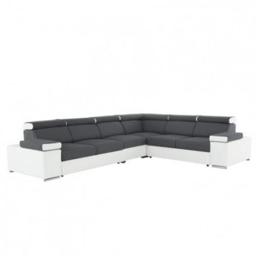 Rohová sedací souprava, šedá / bílá, levá, Marbela LUX, Tempo Kondela