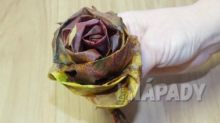 Růže z listů: růže je hotova