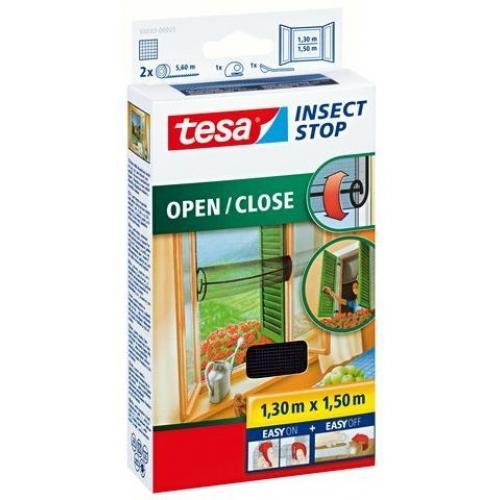 TESA Otevíratelná síť na suchý zip proti hmyzu COMFORT, antracitová, 1,3m x 1,5m 55033-00021-00
