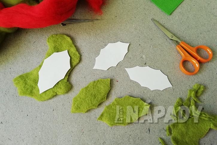 Plstěná brož na zimní kabát: vystřihněte listy