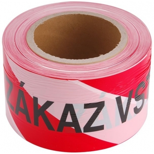 EXTOL CRAFT páska výstražná červeno-bílá, ZÁKAZ VSTUPU, 75mm x 250m