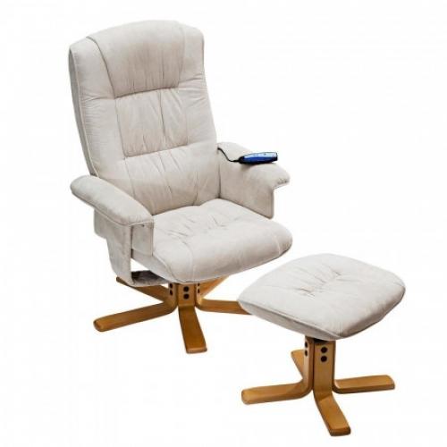 Relaxační masážní křeslo s podnožkou béžové K36, IDEA nábytek