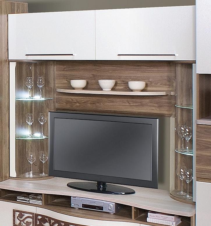 Vitrína může být součástí televizní stěny.