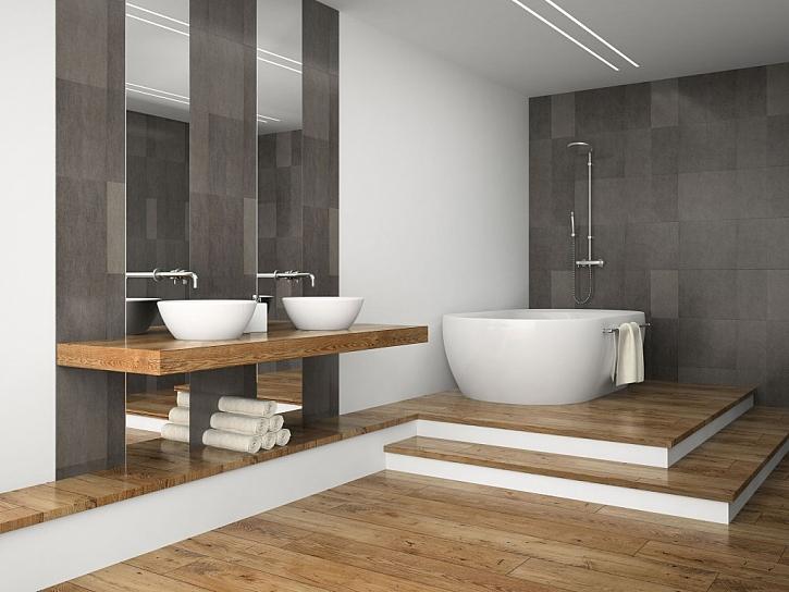 Dřevěná podlaha dodá koupelně zcela jiný rozměr, údržba je však náročnější