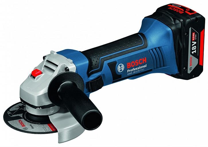 Aku úhlová bruska Bosch GWS 18-125 LI, 18 V, 4,0 Ah