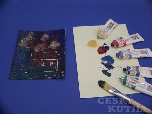 Novoročenka – barevný linoryt s posunutým tiskem