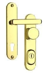 Bezpečnostní kování Rostex R1 oblé, zlaté - klika koule, bezp. tř. 3.