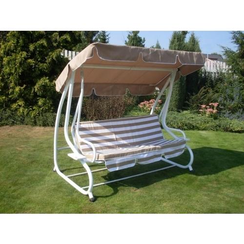 Houpačka zahradní DE LUXE 200 x 120 x 164 cm, béžovo-bílá 103/7