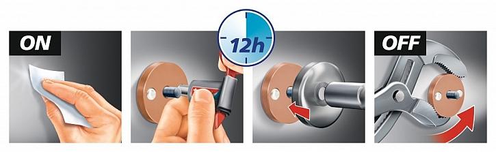 Háčky tesa® Powerbutton připevníte velmi snadno ve třech krocích:
