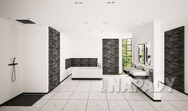 Černobílá koupelna s netradiční dlažbou a obklady