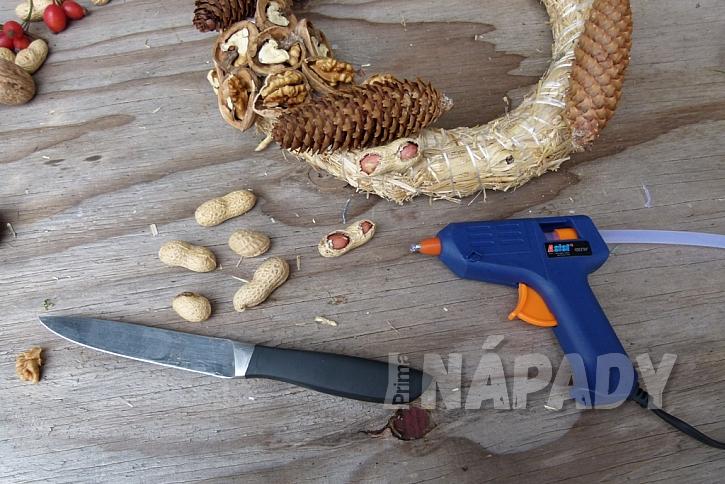 Věnec s ořechy jako krmítko pro ptáky: burské oříšky
