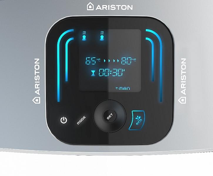 VELIS EVO PLUS - první plochý ohřívač na trhu s indikací počtu dostupných osprchování a se zobrazením času potřebného k ohřevu vody na další sprchu. Dotykový displej Blue Tech umožňuje také denní programování.