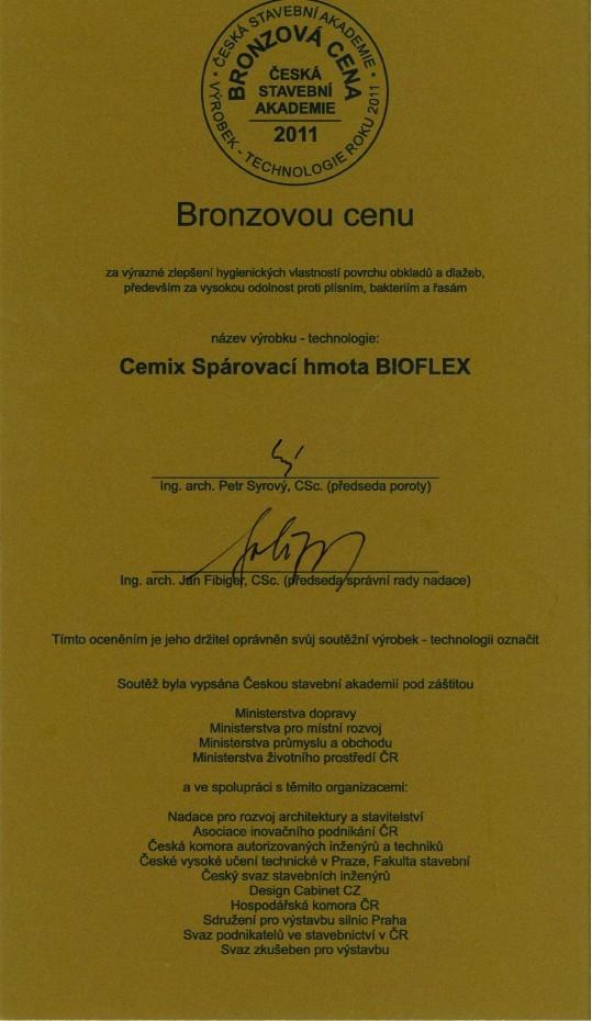 Cemix Spárovací hmota Bioflex získala Bronzovou cenu