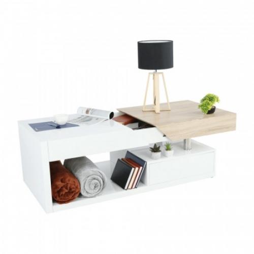 Konferenční stolek, bílý lesk / dub sonoma, MELIDA, Tempo Kondela