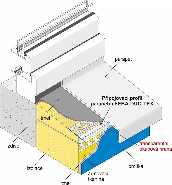 Transparentní profil FEBA-DUO-TEX neruší barvu fasády