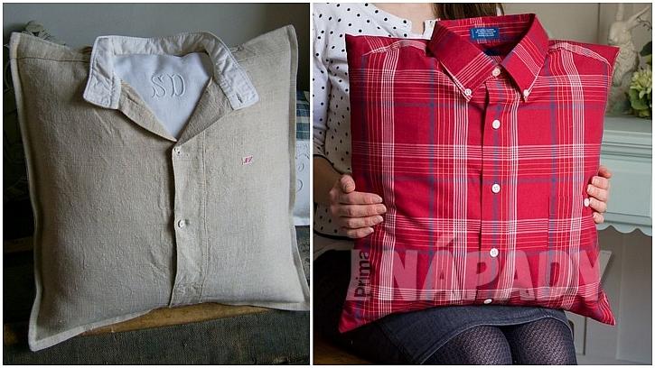 Stará pánská košile: polštáře obyčejné i nevšední