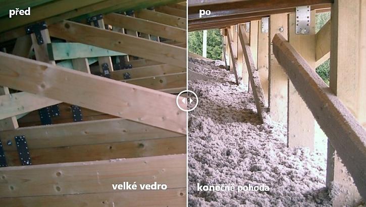 izolace šikmé střechy před a po