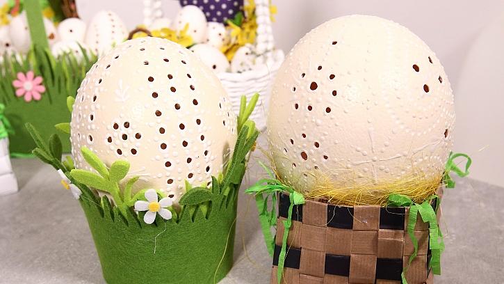 Pštrosí vejce na madeirský způsob: Překvapte koledníky krajkovou maxikraslicí