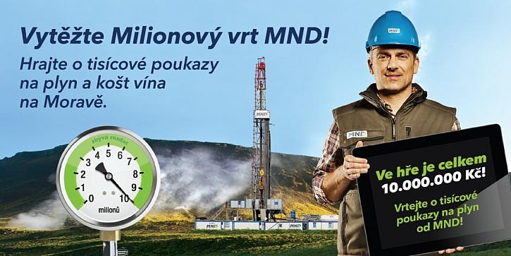 Snižování výdajů za plyn může být zábava! Soutěž o poukaz na plyn od MND – hra Miliónový vrt.