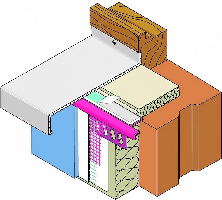 Detail aplikace připojovacího profilu parapetního