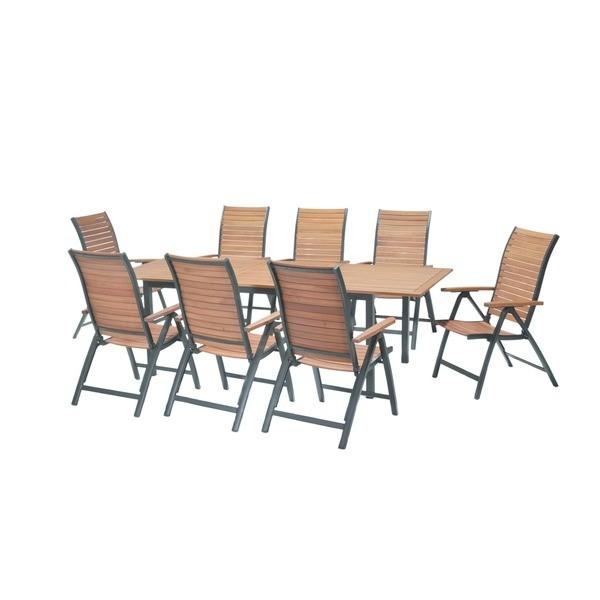 Ke stolu z odolného eukalyptového dřeva v kombinaci s hliníkem posadíte až 10 hostů. Křesla mají ergonomické tvarování a je možné je polohovat.