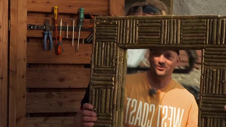 Využití větviček stromů k dekoraci rámu zrcadla