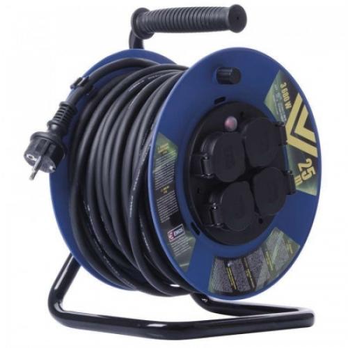 Gumový prodl. kabel na bubnu – 4 zás., 25m, 2,5mm2 SCHUKO