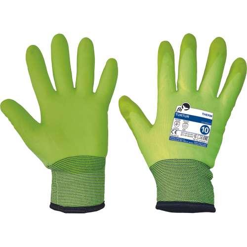 Rukavice Turtur jsou máčené ve speciálně upraveném PVC materiálu, který si zachovává své vlastnosti až do teploty -30 °C.