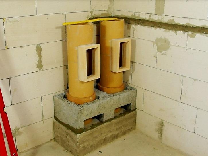 Osazení komínového čističe pro naměření výřezu 2. tvárnice