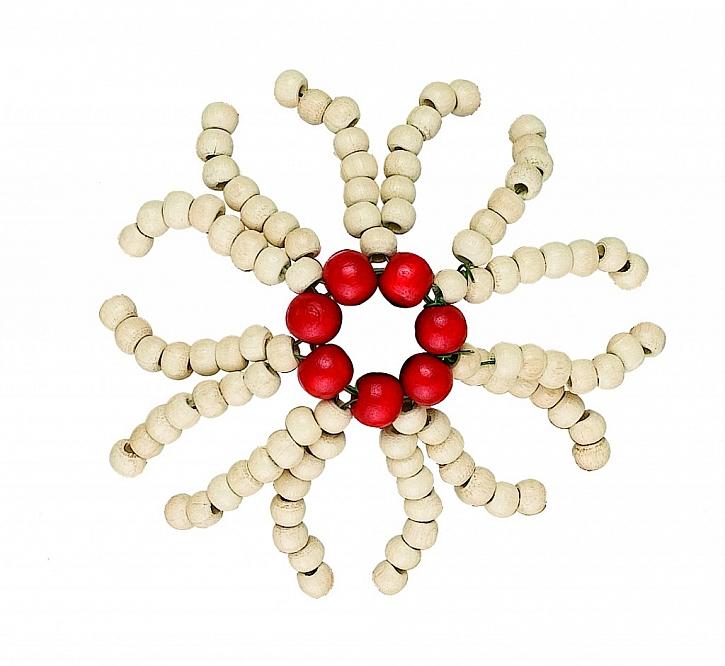 Plastické korálkové vánoční ozdoby – květy a košíčky