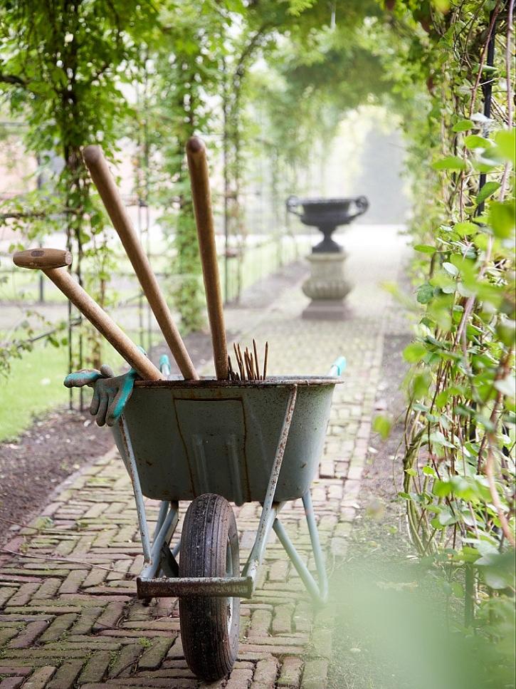 Kolečko a dobré náčiní se při úklidu zahrady bude hodit