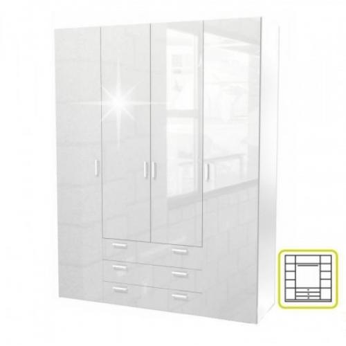 Skříň, 4 - dveřová, bílá extra vysoký lesk HG, GWEN 70429, Tempo Kondela