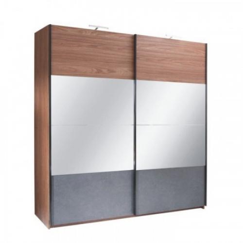 Skříň s posuvnými dveřmi, ořech / grafit, 200x219, Rekato, Tempo Kondela