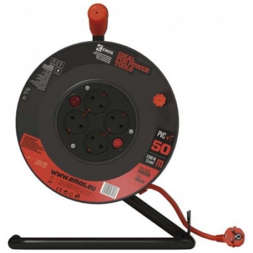 PVC prodlužovací kabel na bubnu – 4 zás., 50m, 1,5mm2 SCHUKO